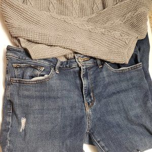 Levi's 711 Skinny Distressed Blue Jeans